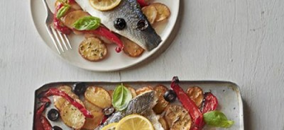 Roast sea bass & vegetable traybake