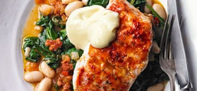 smoky-hake-beans-greens-with-quick-garlic-mayonnaise